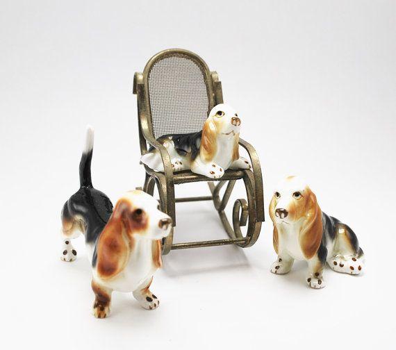 Vintage Miniature Basset Hound Dog Porcelain by BichenVintage