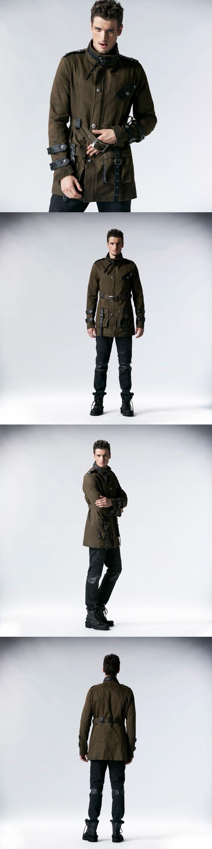 PUNK RAVE Coffee Fashion Gothic Men Long Winter Military Long Coat  Y-532