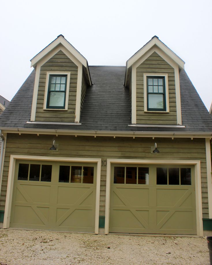 Olive green dark and light combo trim garage doors with Dark green front door paint