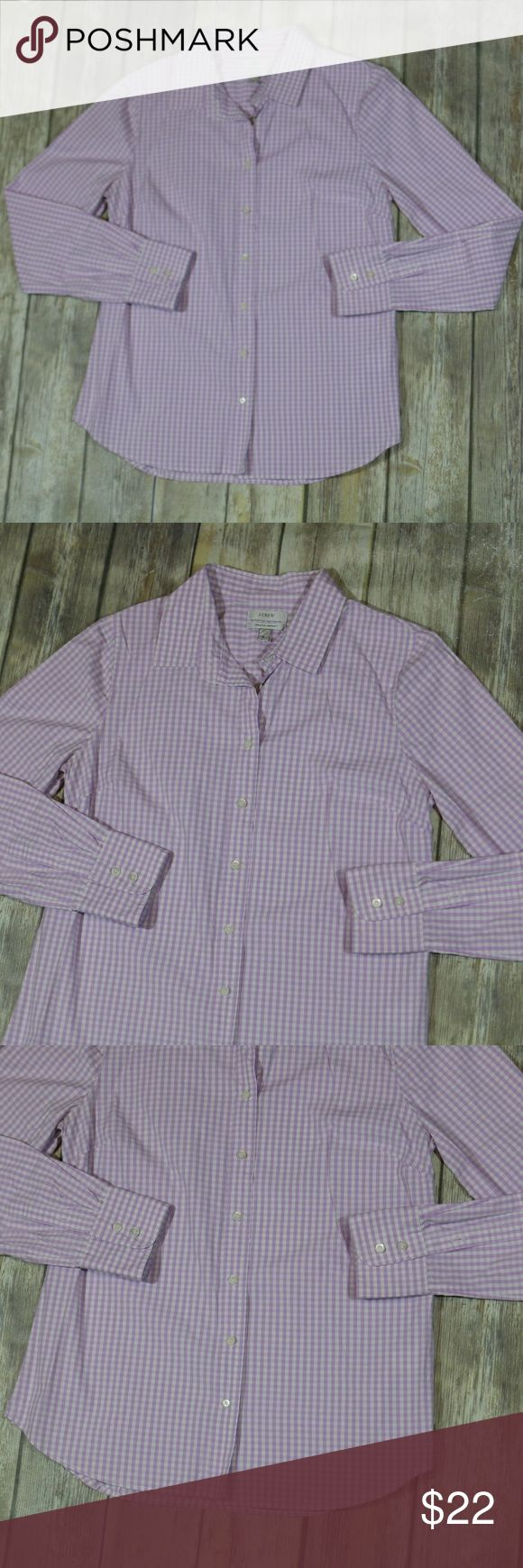"J. Crew Stretch Perfect Shirt Gingham 93260 J. Crew Women's Stretch Perfect Shirt in Medium Gingham. Medium. Purple & white. Style 93260. 97% Cotton, 3% Spandex. Machine wash.  Button down. Super cute for casual or career wear. In good, preowned condition with no flaws noted. Measures approximately 18"" pit to pit, 25"" shoulder to hem. No trades  From online:  Borrowed from the boys but designed and tailored impeccably for us—that's why we call it perfect—with precisely placed bust and back…"