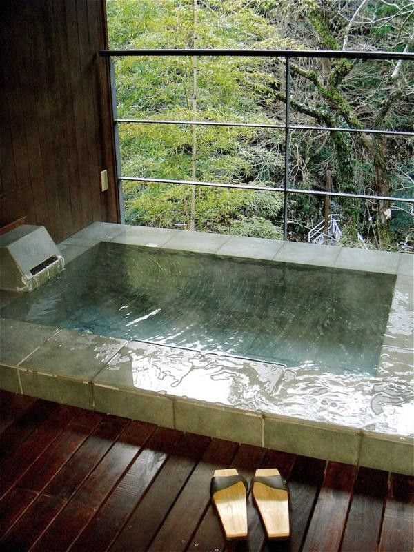 Bathroom… Japanese Soaking Tub with View of Forest | Gardenista