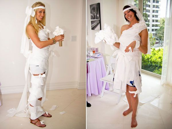 Bridal Shower game:toilet paper brides. Who can make the best toilet paper wedding gown?