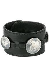King Baby Studio  Leather Cuff Bracelet w/ Half Dollar and 2 Quarter Dollar Coins