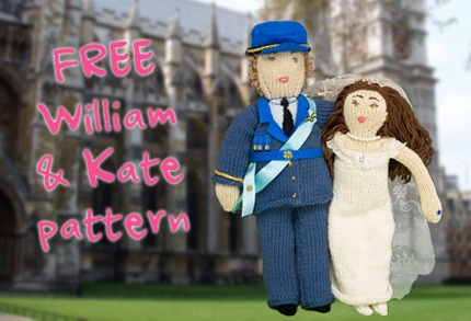 Free knitting pattern: Prince William and Kate dolls