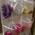 Organizing hair accessories with an over the door shoe holder