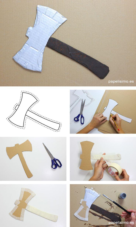 hacha-de-carton-plantillas-disfraz-casero-lenador-cardboard-ax