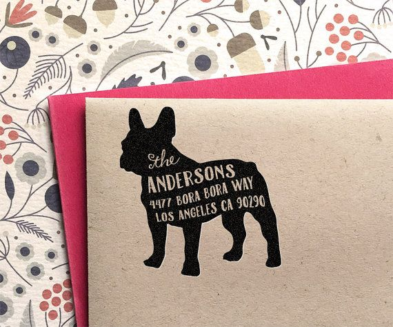 Custom Address Stamp  French Bulldog Frenchie by mysplendidsummer - For Amanda