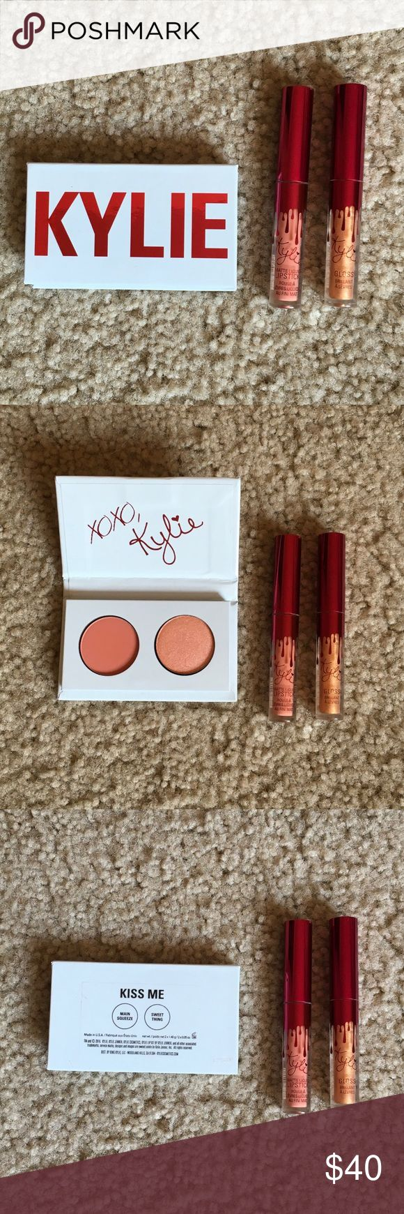 Kylie Valentines Day Kiss Me Mini Kit I bought this on kyliecosmetics.com when I was collecting her products but didn't like the look of the colors in person. I don't have the original box any more but these products have never been used. This listing is for the Kiss Me Mini eyeshadow kit (includes Main Squeeze and Sweet Thing), Mini Poppin Gloss, and mini Dirty Peach. Kylie Cosmetics Makeup Lipstick