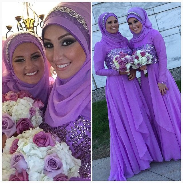 """✨ Love working on these beauties #bridesmaids  Simple Yet Elegant Hijab styles by Nada @hijabiinspirations To book call/text 313-999-9980…"""