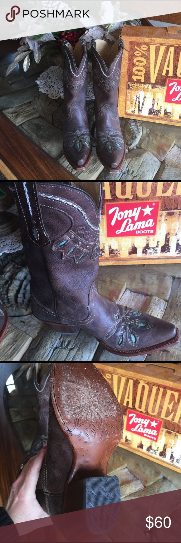 Tony lama boots size 7 Tony lama  boots .  Size 7.  Worn once .. love these boots just have too many.. new in box ... Tony Lama Shoes Heeled Boots