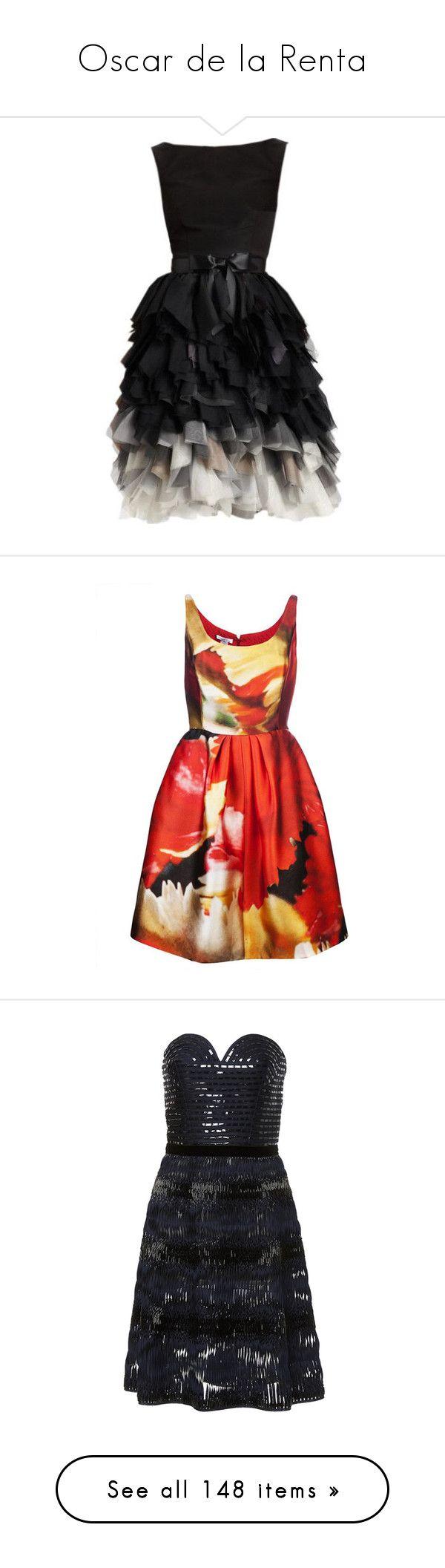 """""""Oscar de la Renta"""" by khaosprincess ❤ liked on Polyvore featuring dresses, oscar de la renta, silk cocktail dress, silk dress, ruffle cocktail dress, ruffle dress, cocktail dresses, evening dresses, silk pleated dress and multi color dress"""