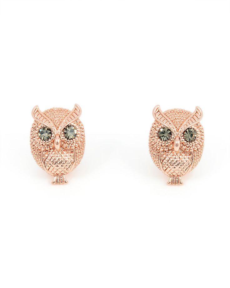 Owl Earrings Silver Plated Swarovski Elements Crystal Bird Studs Earrings for Women v61Hc3