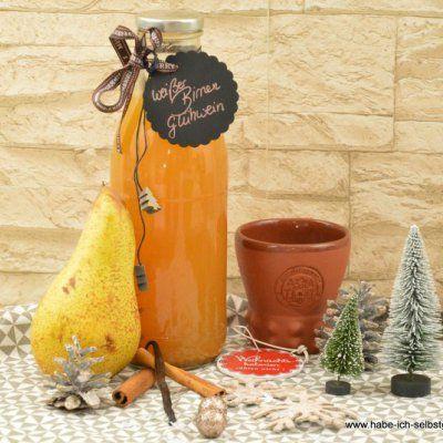Weihnachtlicher weißer Birnen Glühpunsch oder Glühwein – eine tolle Geschenkidee