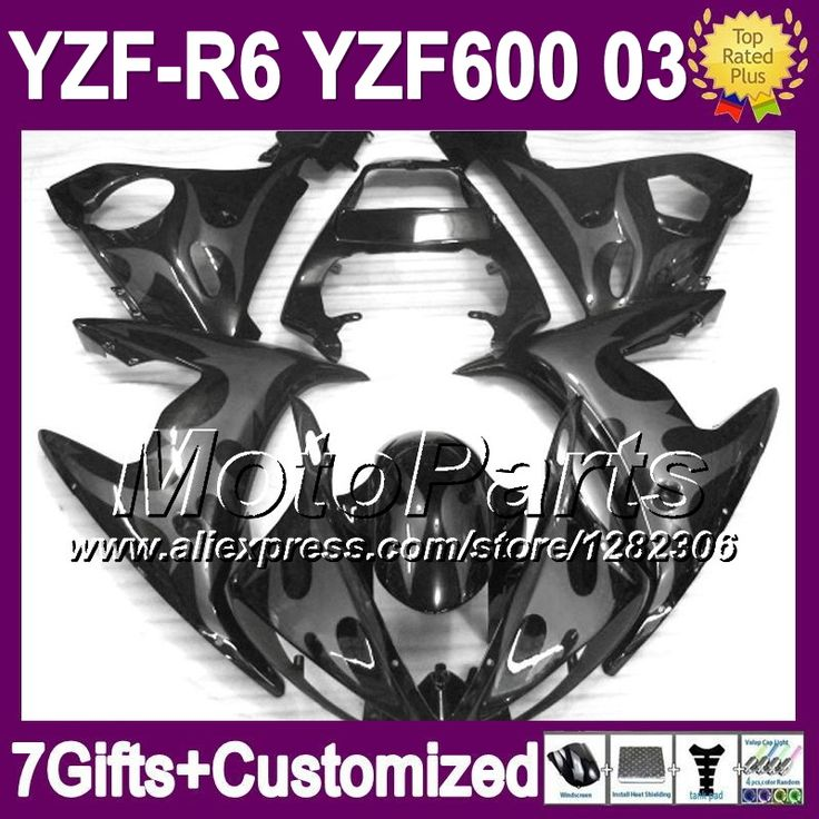 Серый черный для YAMAHA 03 2003 R6 R 6 2003 YZF R6 * 296 YZF-R6 серый пламя черный YZF600 YZFR6 R6 R 6 зализа 7 подарки