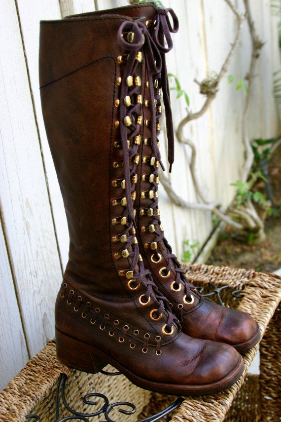 Vintage 70s Brown Leather Lace Up Bohemian Hippie Steampunk Boots by TealMoonVintage, $285.00