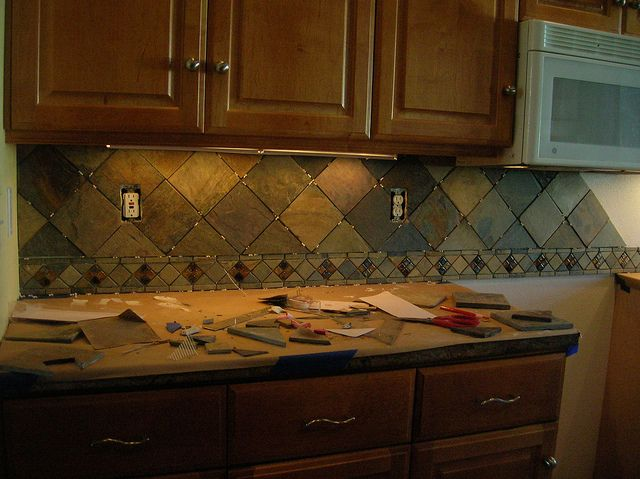 "Kitchen back-splash, 4"" slate tile on point"