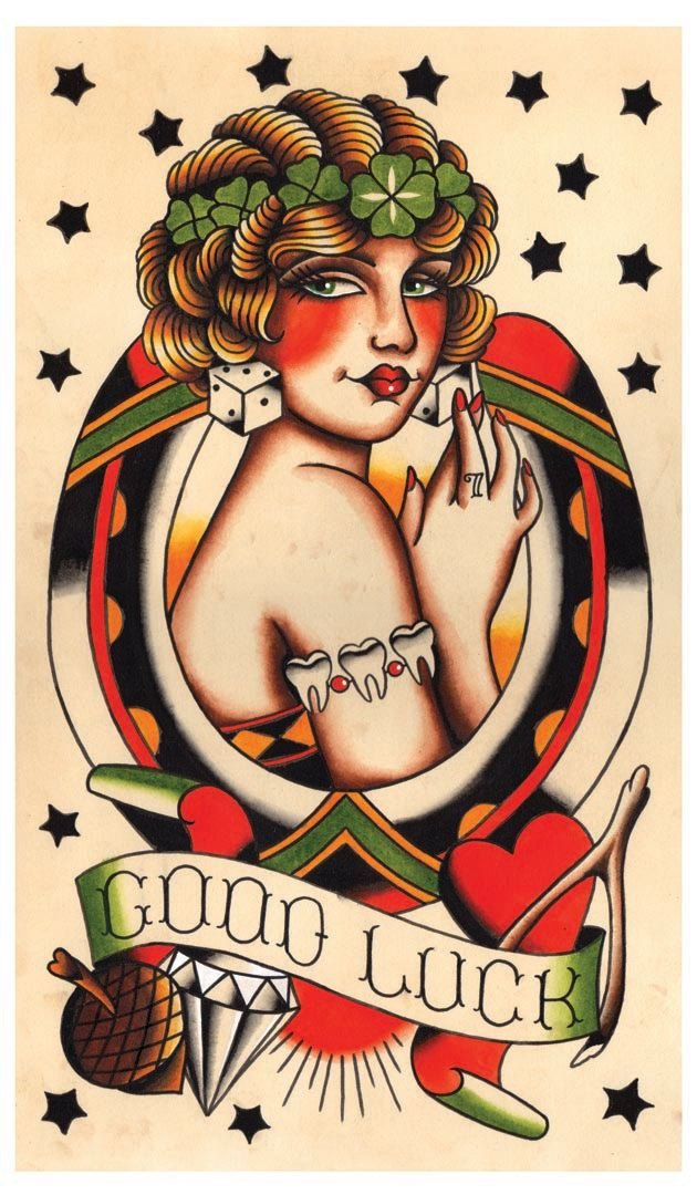 Vintage Lady Luck Good Luck Tattoo Flash by MissMartinTattoos