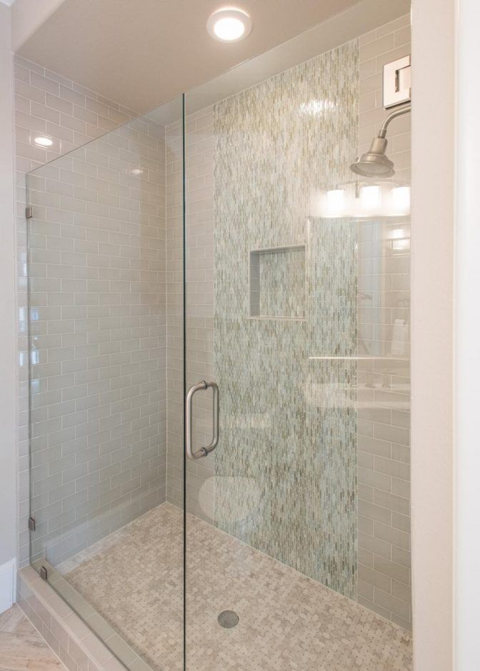 Bathroom Neutral Subway Tile Shower With Frameless Glass