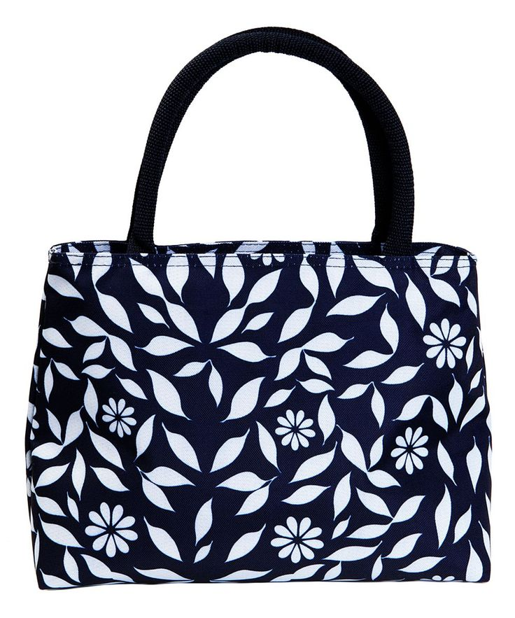 Navy Floral Insulated Lunch Tote