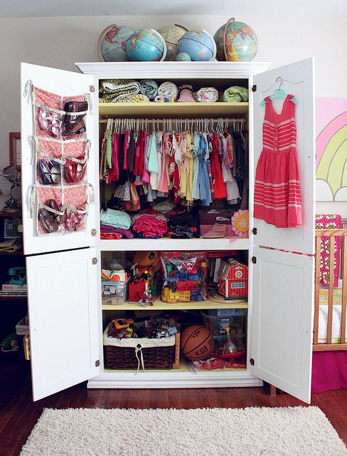 Love the idea of putting the kid 39 s clothes shoes for Inside wardrobe storage