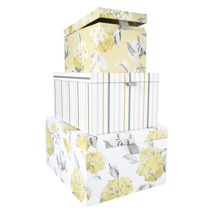 Hydrangea Set Of 3 Storage Boxes