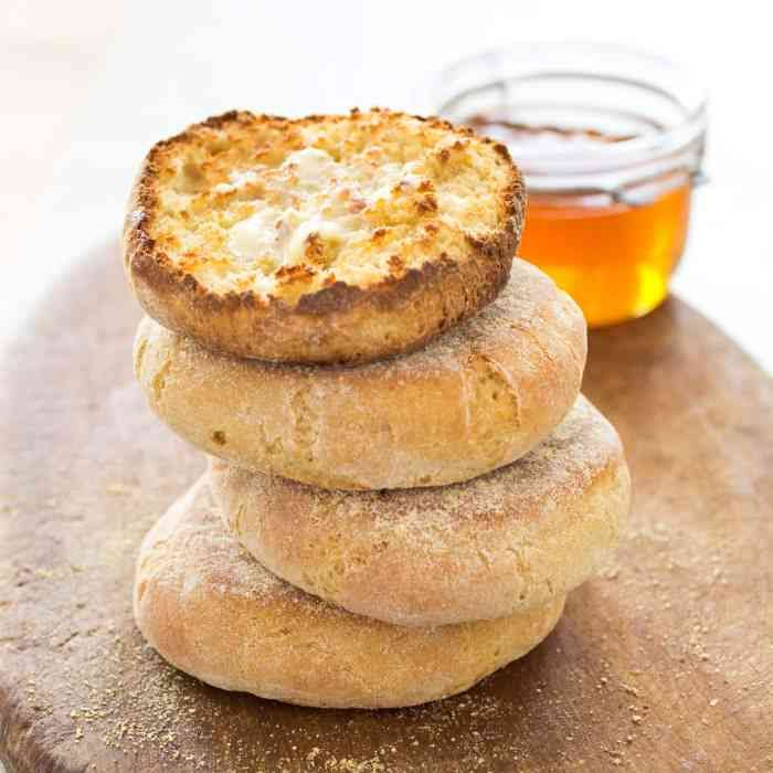 """Recipe for Gluten Free English Muffins from America's Test Kitchen's """"How Can It Be Gluten Free Cookbook"""" - http://glutenfreemom.com/gluten_free_recipes/bread_wraps/english-muffins/#.UxvDk9GPJDw #glutenfree #glutenfreerecipes"""