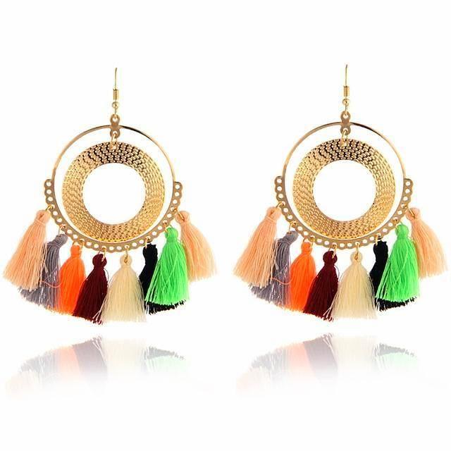 Fashion Bohemian Style Tassel Long Earrings Multi Color