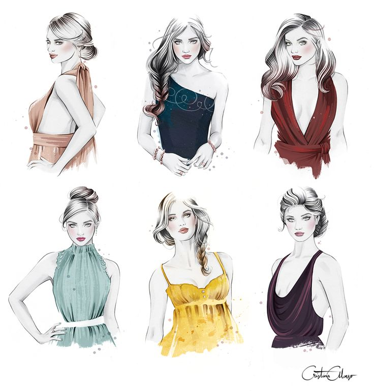 'Necklines + Hairstyles' by © Cristina Alonso (www.cristinalonso.com) for Secretos de Chicas, Patry Jordan (Penguin Random House) on Behance