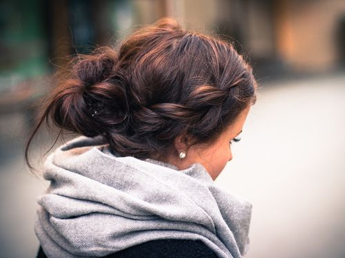 braid + bun + scarf