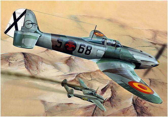Heinkel He-112B del teniente Miguel Entrena que derribó a un P-38 Lightning sobre los cielos de Melilla tras la Operación Torch en 1943. Los casos de conflictos de naciones neutrales o no beligerantes con países en guerra  estaban en el marco de lo posible.