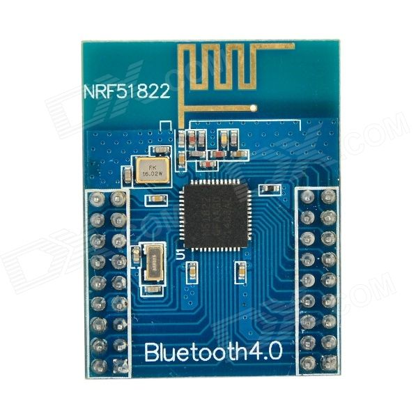Waveshare nRF51822 2.4GHz Wireless Bluetooth V4.0 Development Board Module w/ Antenna - Deep Blue. A multi-protocol single-chip solution for ULP wireless application; Integrated Nordic wireless transmitter; Support bluetooth low energy and 2.4GHz protocol Core 51822: Main chip: nRF51822 Communication range: 30m (in open area, 1Mbps) Working frequency: 2.4GHz Working voltage: 2~3.6V Temperature range: -40~85'C Interface: All I/O, except P0.26 and P0.27 Pin space: 2.0mm Pin side space: 18mm…