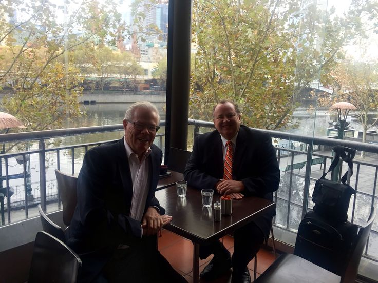 Global innovation guru Peter Riddles chats to Victor Perton on the Southbank, Melbourne, Australia.