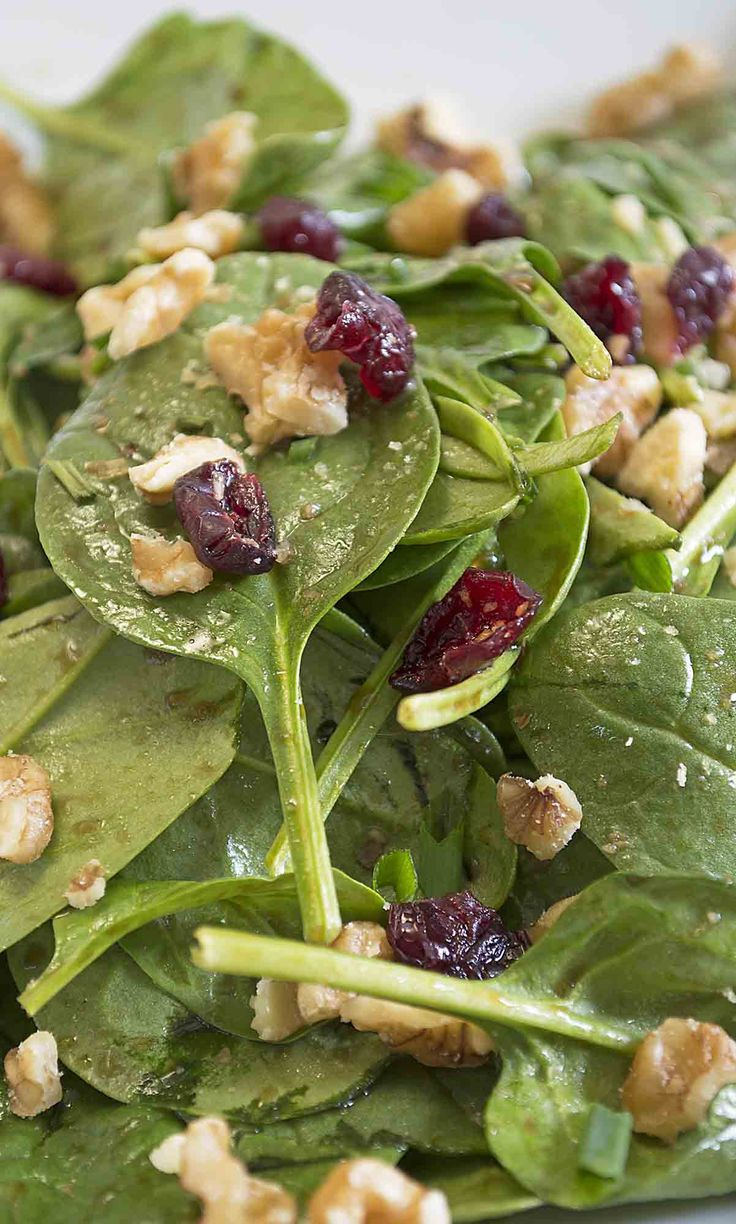 Baby Spinach Salad with Maple Balsalmic Vinaigrette - This maple balsamic vinaigrette is simply the best salad dressing I have ever tasted. Paired with a baby spinach salad there is nothing to compare it to.  www.vegandaydream.com