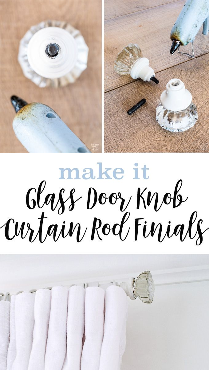 Window treatment idea. How to make curtain rod finials using door knobs. It is so easy to do. I found inexpensive door knobs and the thrift store.