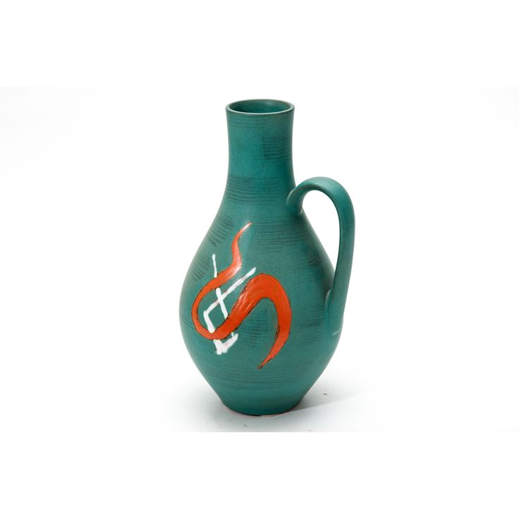 Vaso produzione Italia anni 50 colore verde in ceramica