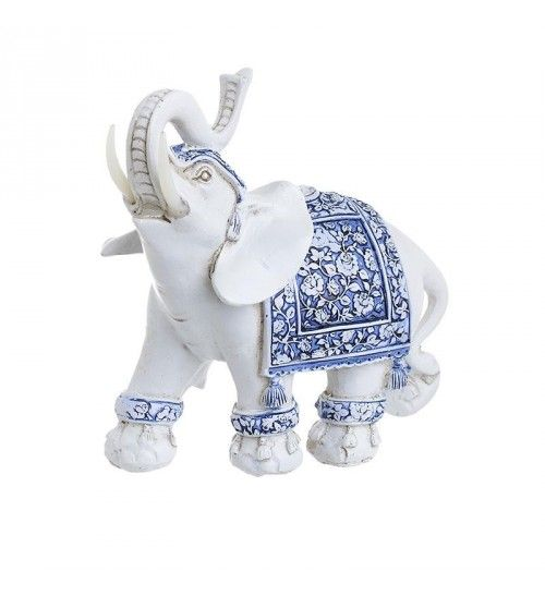 POLYRESIN ELEPHANT IN WHITE_BLUE COLOR 16_5X8X15_5