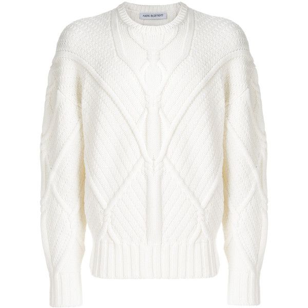 Neil Barrett cable rope knit jumper (€540) ❤ liked on Polyvore featuring men's fashion, men's clothing, men's sweaters, white, mens cable sweater, mens ribbed sweater, mens knit sweater, mens cable knit sweater and mens white cable knit sweater