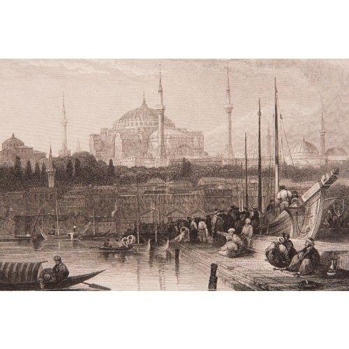David Roberts'e ait orjinal çelikbaskı gravür 1850'li yıllarda Londra'da basılmıştır. Genellikle Eminönü tarafından Karaköy çizilmiş olmasına karşılık burada tam tersi bir kompozisyon kullanılmıştır. Materyal: Orijinal çelik baskı gravür, yeşil paspartulu.