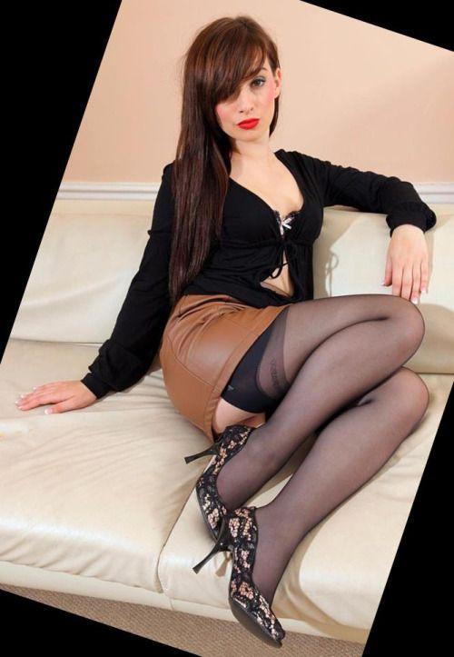 Tasty girl in stockings garter belt and high heels 2