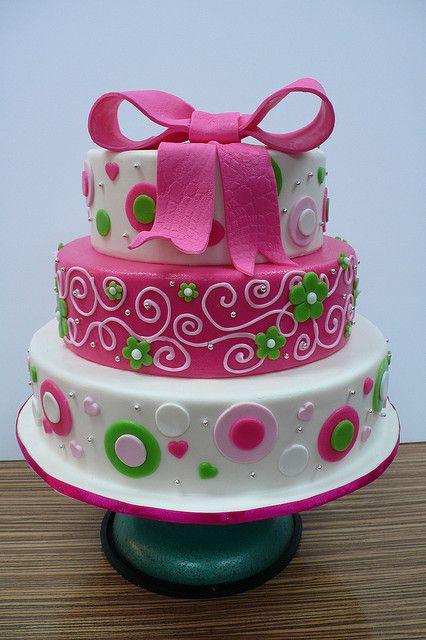 Funky Pink Green Big Bow Wedding Cake   Flickr - Photo Sharing!