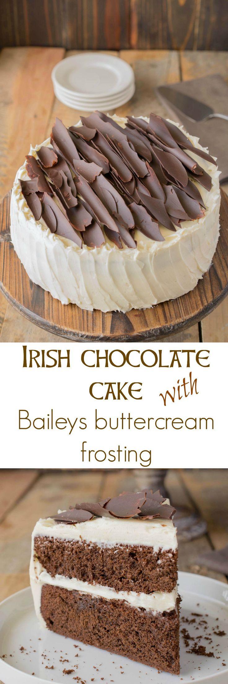 Irish chocolate cake with Baileys buttercream frosting