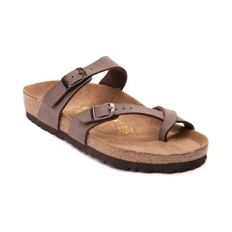 Spring into warmer weather with the new Mayari Sandal from Birkenstock! The Mayari Sandal boasts stylish comfort you can count on, featuring a feminine silhouette with slimmer buckle straps, and crazy comfortable footbed that molds to the shape of your foot, and cradles every step. <b>Available online only at Journeys.com and Shi by Journeys.com.</b> <br><br><u>Features include</u>:<br> > Birkibuc synthetic leather upper with soft textile lining resists tears and feels like velvety…