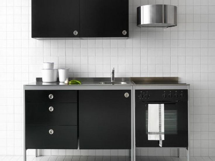 Beautiful black ikea free standing kitchen cabinets with for Ikea godmorgon meuble mural