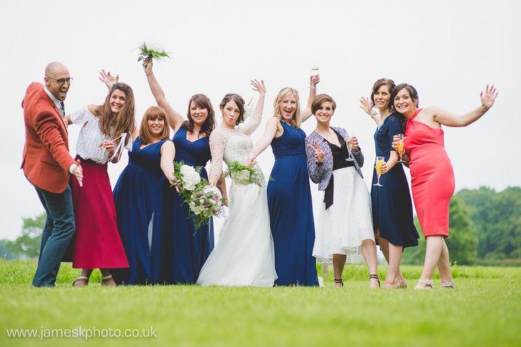 Wedding Group Shot. Bride & Bridesmaids. Hush Venues Norfolk Outdoor Wedding Venue. Norfolk Wedding Photographer. www.jameskphoto.co.uk