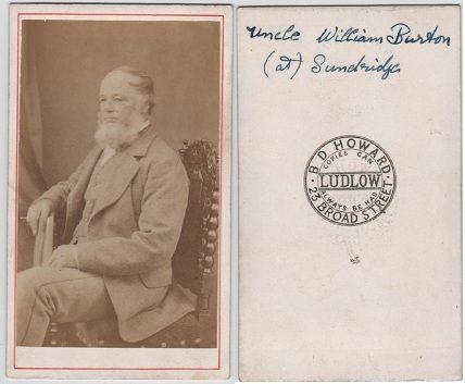 Carte de Visite, published by B.D.Howard, 23 Broad Street, Ludlow
