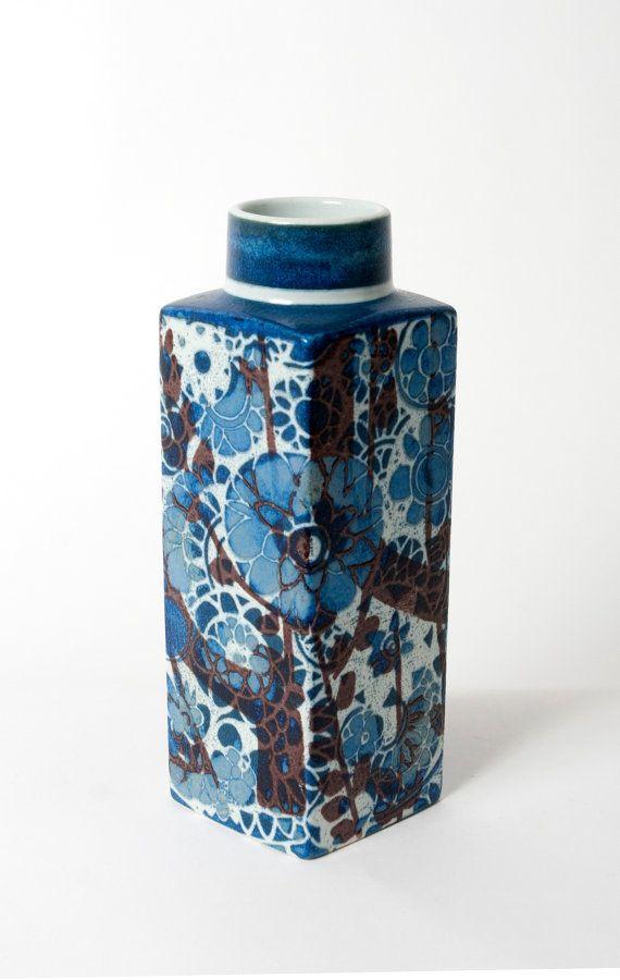 Royal Copenhagen vase johanne gerber fajance mid century pottery blue flowers…