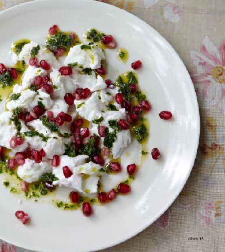 Salat granateple og mozarella
