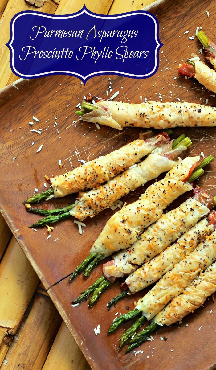 Parmesan Asparagus Prosciutto Phyllo Spears Appetizer {recipe by Makobi Scribe}