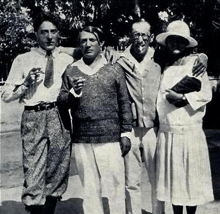Jean Cocteau, Pablo Picasso, Igor Stravinsky, and Olga Picasso in Antibes, 1926.