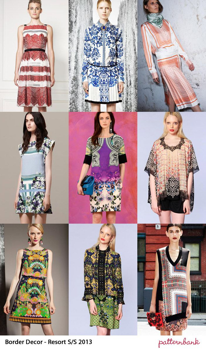 Catwalk Print Trends   Cruise / Resort Pre Spring/Summer 2013 Dissected Border Prints – Stripes in Border format  – Deconstructed Paisley Print Elements – Enlarged Border detail –  Repositioned pattern structures – Baroque Border print